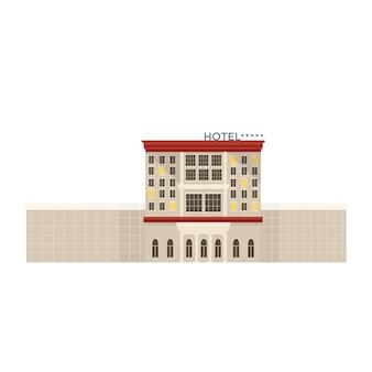 Flaches vektorsymbol mit teurem luxushotel, detaillierte gebäudefassade isoliert auf weißem hintergrund. reise- und tourismuskonzept