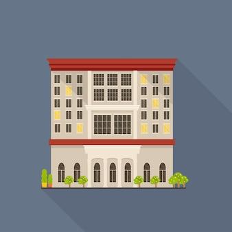 Flaches vektorsymbol mit teurem luxushotel, detaillierte gebäudefassade mit langem schatten. reise- und tourismuskonzept