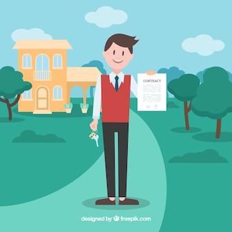 Flaches verkäufercharakterholding-vertragsdokument