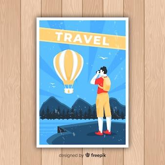 Flaches vintages förderndes reiseplakat