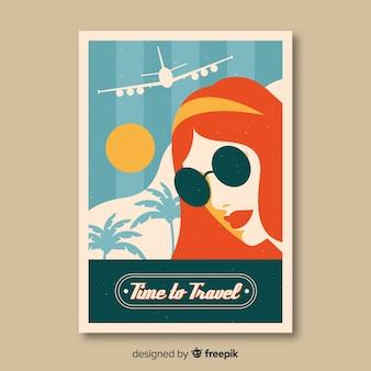 Flaches vintages reisendes plakat