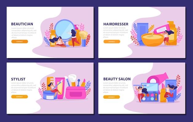 Flaches web-banner des schönheitssalons, das mit den schlagzeilen des friseurs stylist der kosmetikerin gesetzt wird