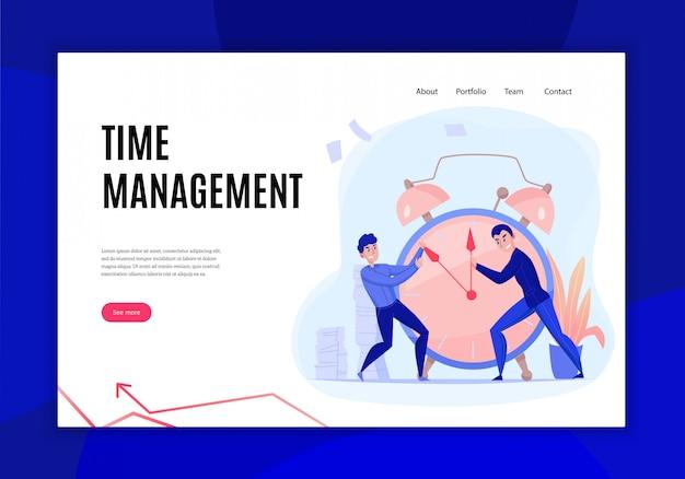 Flaches website-banner des zeitmanagement-fristkonzepts mit kollegen, die mit weckerhandvektorillustration kämpfen