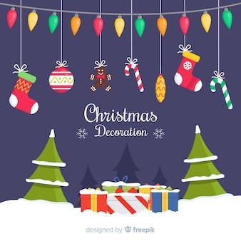 Flaches weihnachtsdekorationskonzept