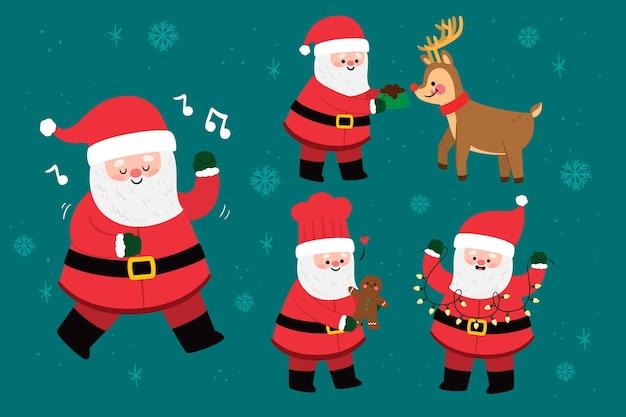 Flaches weihnachtsmann-zeichenpaket