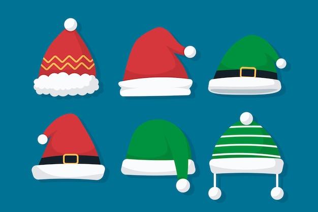 Flaches weihnachtsmützen-set