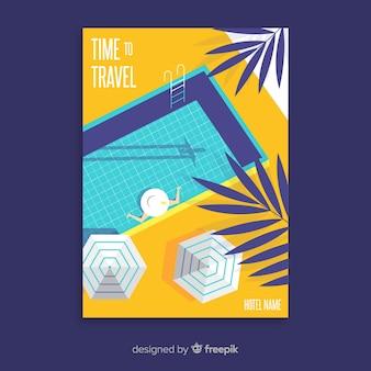 Flaches weinlesereiseplakat mit pool