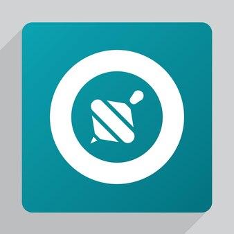 Flaches whirligig-symbol, weiß auf grünem hintergrund