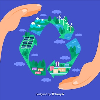 Flaches wiederverwertungssymbol mit grünen feldern
