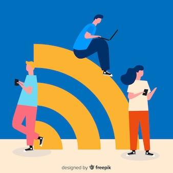 Flaches wifi zonenkonzept mit signal