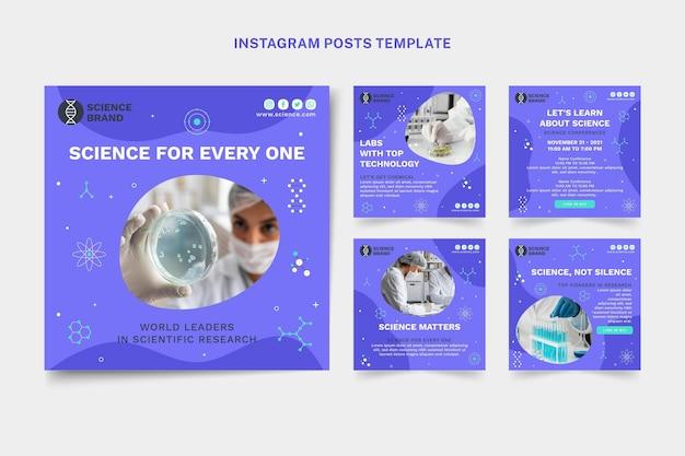 Flaches wissenschafts-instagram-post-set