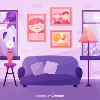 Flaches wohnzimmer