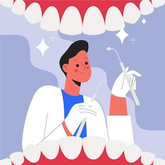 Flaches zahnpflegekonzept