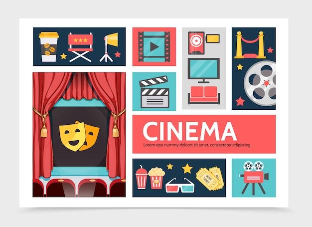 Flachfilm-infografik-konzept mit kaffee-soda-popcorn-filmstreifenprojektor-kinoleinwandfernseher