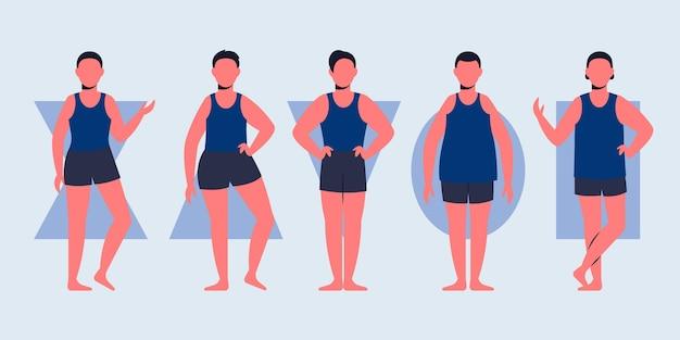 Flachhand gezeichnete arten männlicher körperformen