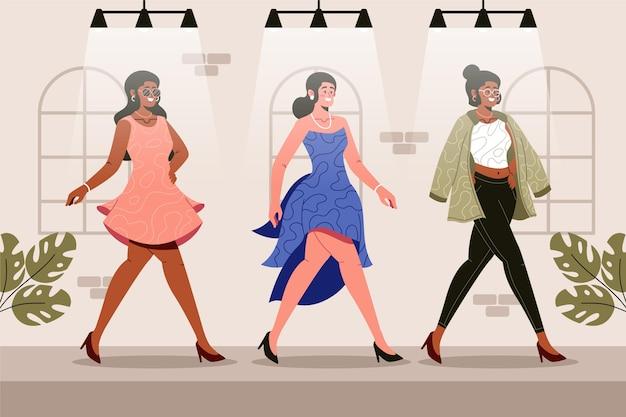 Flachhand gezeichnetes modedesignerkonzept