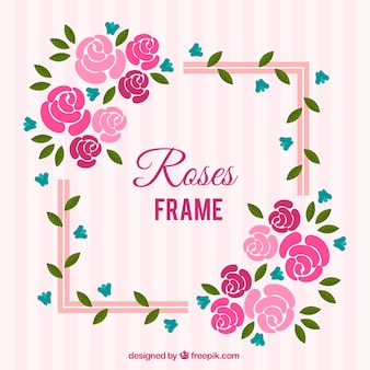Flachrahmen mit rosa und blauen blüten