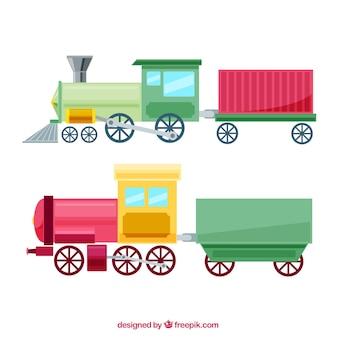 Flachspielzeug-lokomotiven mit wagen