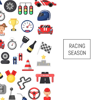 Flachwagenrennen symbole hintergrund mit platz für text