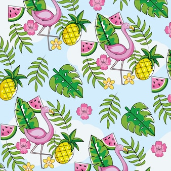 Flämisch mit tropischen früchten und blatthintergrund
