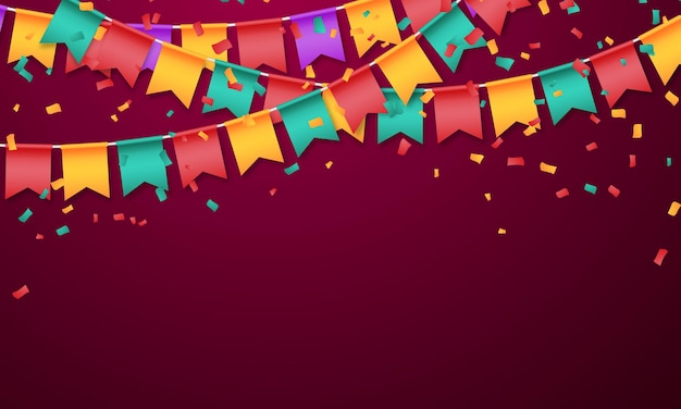 Flag bunte konfetti konzept design vorlage urlaub happy day, hintergrund feier vector illustration.