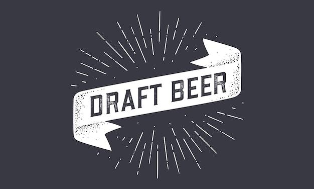 Flag draft beer. bandfahnenfahne der alten schule mit text draft beer.