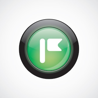 Flag glas zeichen symbol grün glänzend schaltfläche. ui website-schaltfläche