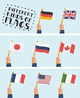 Flag in hand runde symbole gesetzt. menschliche hände, die flaggen verschiedener länder halten, illustration
