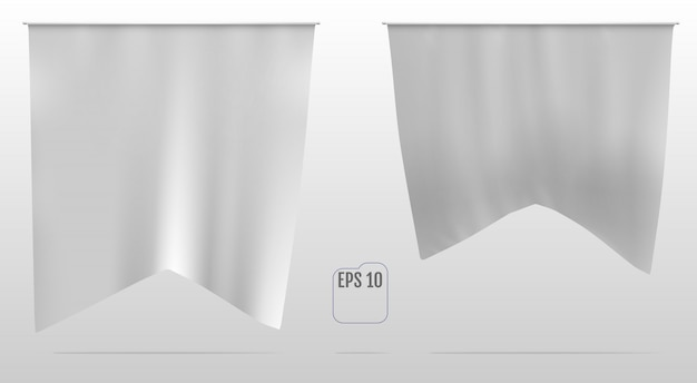 Flag, wimpel oder banner white realistic mockup.