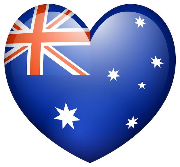 Flagge auf australien in herzform