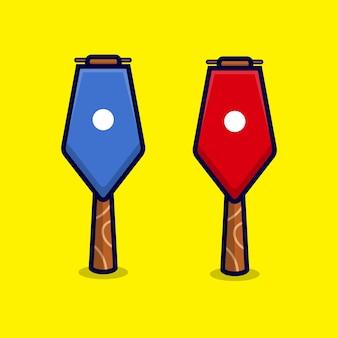 Flagge auf pole cartoon icon isoliert auf gelb