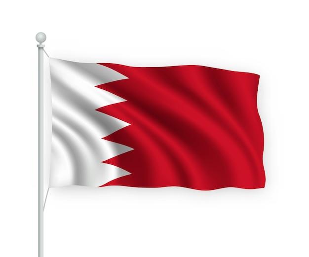 Flagge bahrain am fahnenmast auf weiß isoliert
