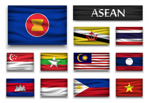 Flagge der asean und mitgliedschaft