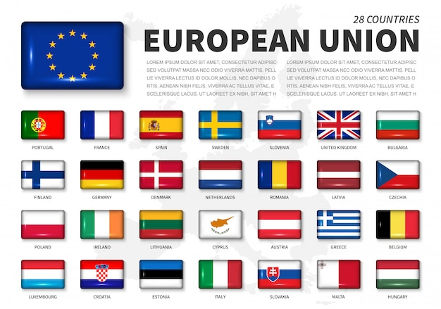 Flagge der europäischen union (eu) und der mitglieder