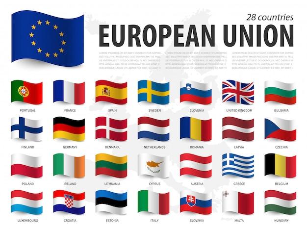 Flagge der europäischen union (eu) und mitgliedschaft auf der europakarte. wehende flagge design.