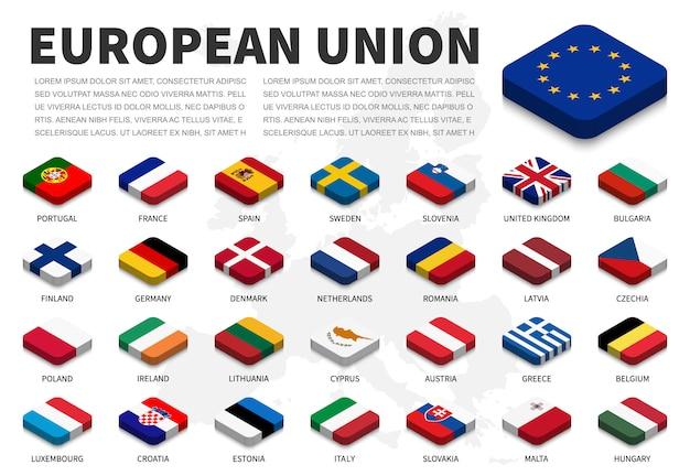 Flagge der europäischen union (eu) und mitgliedschaft auf europa-kartenhintergrund. isometrisches top-design. vektor