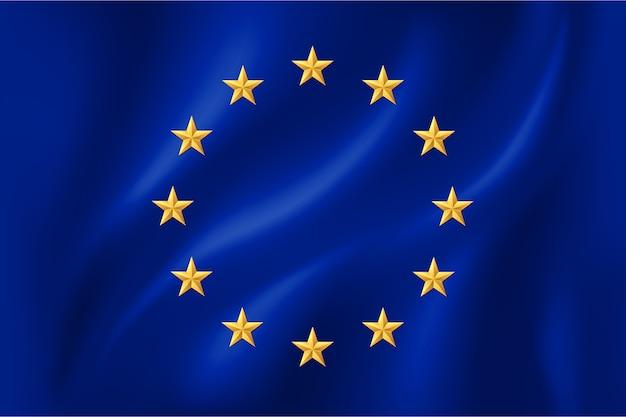 Flagge der europäischen union mit goldenen sternen auf stoff