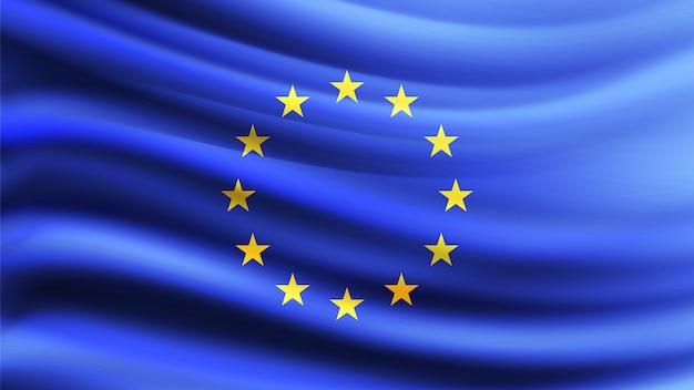Flagge der europäischen union weht im wind. teil einer serie. europäische union wehende flagge.