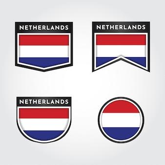 Flagge der niederlande mit etiketten