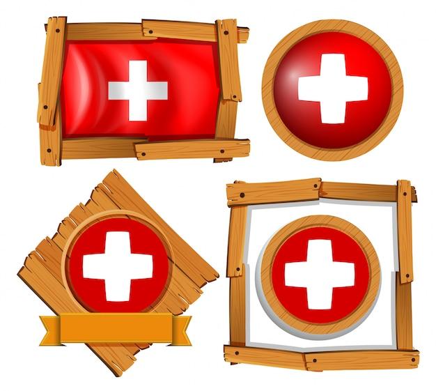Flagge der schweiz in verschiedenen rahmen