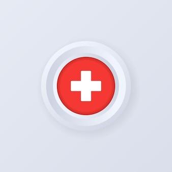 Flagge der schweiz. schweiz-etikett, schild, schaltfläche, abzeichen im 3d-stil.