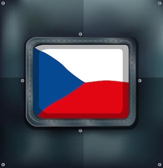 Flagge der tschechischen republik auf quadratischem rahmen