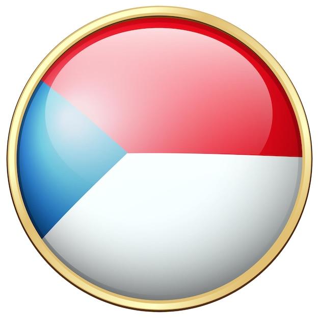 Flagge der tschechischen republik auf rundem abzeichen