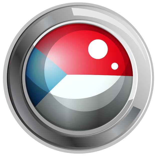 Flagge der tschechischen republik auf rundem rahmen