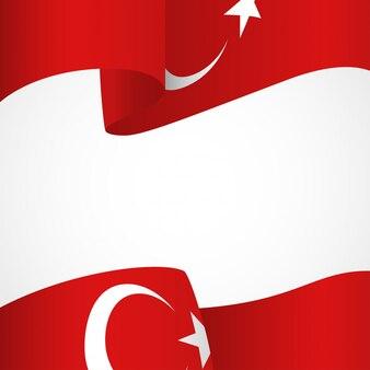 Flagge der türkei auf weiß