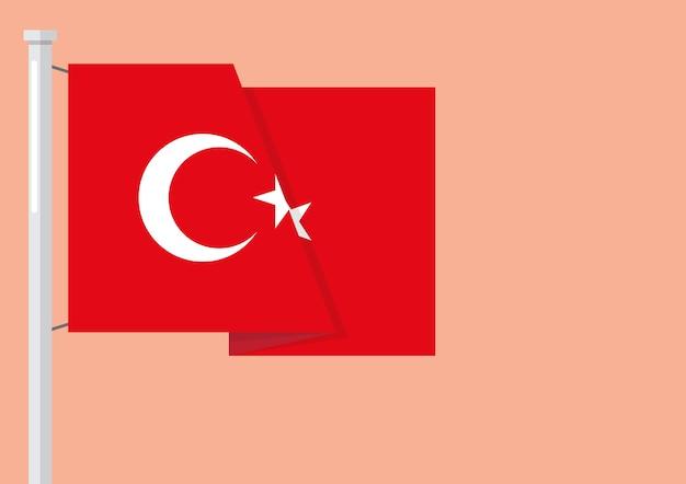 Flagge der türkei mit exemplar