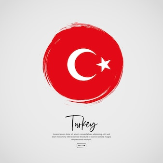 Flagge der türkei mit pinselstricheffekt und text