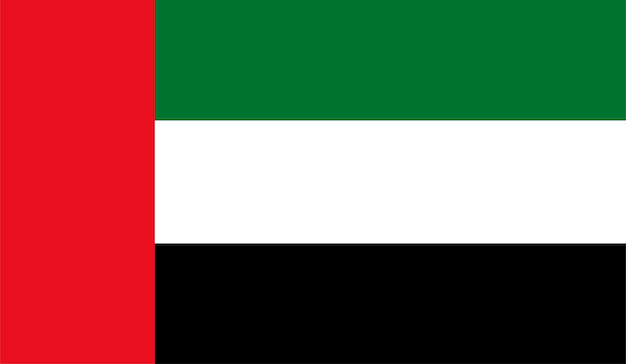 Flagge der vereinigten arabischen emirate - ursprüngliche farben und proportionen. vae-vektor-illustration eps 10
