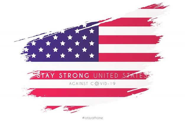Flagge der vereinigten staaten in aquarell-spritzer mit unterstützungsnachricht