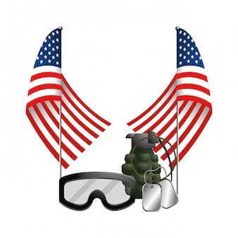 Flagge der vereinigten staaten mit granate